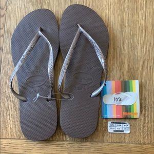 Havaianas, 39-40, dark brown, thin strap, new